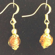 Murano Glass Bead Earrings - Corintia (Amber/Gold)