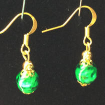 Murano Glass Bead Earrings - Corintia - Green