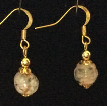 Murano Glass Bead Earrings - Corintia - White/Rose Gold