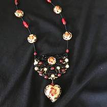 Murano Glass Bead Necklace Red-Gold with Heart