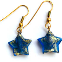 Murano Glass Bead Earrings - Simona Star (Blue/Gold)