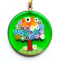 Murano Glass Pendant Millefiori 36mm Tree of Life