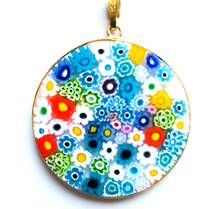 Murano Glass Pendant Millefiori 36mm Multi
