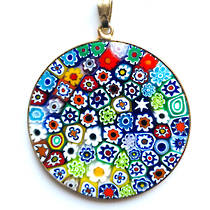 Murano Glass Pendant Millefiori 36mm Multi B