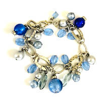 Murano Glass Bracelet - Blue Tones