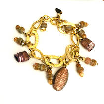 Murano Glass Bracelet - Brown Tones