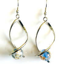 Murano Glass Bead Earrings - Giorgia (Blue/Rose Gold/Silver
