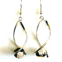 Murano Glass Bead Earrings - Giorgia (Black/Rose Gold/Silver)