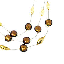 Murano Glass Bead Necklace - Lidia - Bronze/Gold