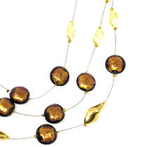 Murano Glass Bead Necklace - Bronze/Gold