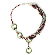 Murano Glass Necklace - Anelli Red/Silver