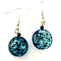 Murano Glass Bead Earrings - Colette - Aqua Black
