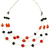 Murano Glass Bead Necklace - Alessia - Red/Black