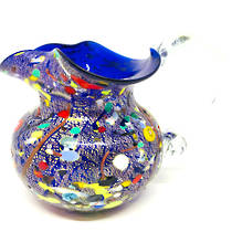 Murano Glass Fazzoletto Jug - Blue