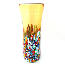 Murano Glass Vase with Millefiori Beads 190mm - Gold