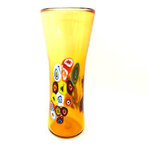 Murano Glass Vase with Millefiori Beads 190mm - Gold (2)