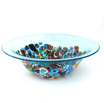 Murano Glass Bowl with Millefiori Beads 150mm diameter - pale blue