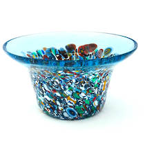 Murano Glass Bowl with Millefiori Beads (B) 130mm diameter - pale blue