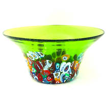 Murano Glass Bowl with Millefiori Beads (B) 130mm diameter - green