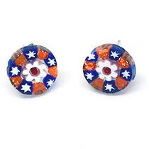 Murano Glass Bead Earrings - Millefiori Studs B