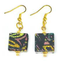 Murano Glass Bead Earrings - Square  (black/multi)