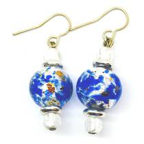 Murano Glass Bead Earrings - Principessa (Cobalt blue/silver)