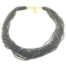Murano Glass Bead Necklace Fenice 45 Strands - Black