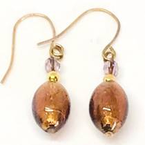 Murano Glass Bead Earrings - Acqua (bronze)