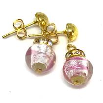 Murano Glass Bead Earrings - Fiorella Pink/Clear (Silver Foil)