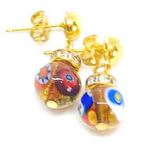 Murano Glass Bead Earrings - Fiorella - Amber with Millefiori Beads