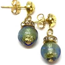 Murano Glass Bead Earrings - Fiorella Blue (Gold Foil)