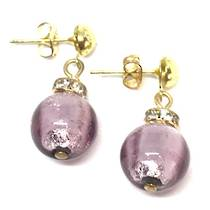 Murano Glass Bead Earrings - Estate - Lilac with silver foil