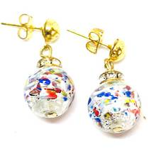 Murano Glass Bead Earrings - Estate - White, coloured glass & silver foil