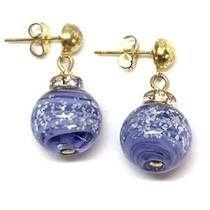 Murano Glass Bead Earrings - Estate - Blue (silver foil)