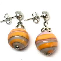Murano Glass Bead Earrings - Estate - Orange/Cream