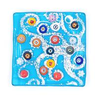 Murano glass dish - Aqua with Millefiori beads