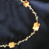 Murano Glass Necklace - Gold with 3 Cubes