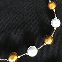 Murano Glass Bead Necklace - Ocean - Gold/Silver