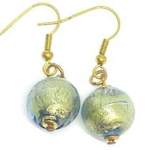 Murano Glass Bead Earrings - Marta - Blue/Gold Foil