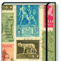 Italian Stationery Hard Back A5 Notebook - Postage Stamps