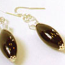 Murano Glass Bead Earrings - Oval Elegance (Black/Gold)