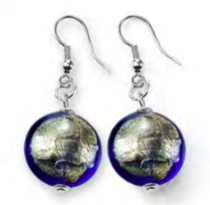 Murano Glass Bead Earrings - Lucia (round - Blue-gold foil)
