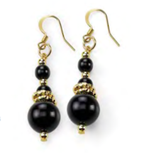 Murano Glass Bead Earrings - Spagna Black-Gold