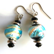 Murano Glass Bead Earrings - Principessa (Aqua/black/Gold)