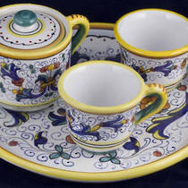 Hand-Painted Ceramics Ricco Deruta Espresso Coffee Set for Two