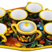 Hand-Painted Ceramics Zafiro Espresso Coffee Set for Six