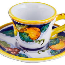 Hand-Painted Ceramics Alcantara Espresso Coffee Cup and Saucer