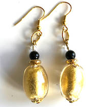 Murano Glass Bead Earrings - Oval Gold Foil