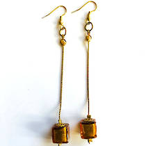 Murano Glass Bead Earrings - Serata - Gold