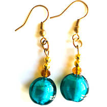 Murano Glass Bead Earrings - Mare (Aqua/Gold)